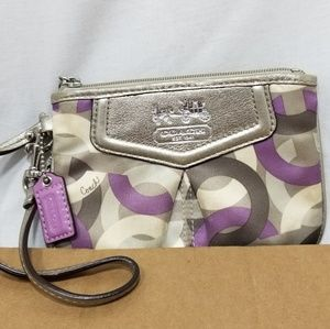 A9,696 Coach Monogram Wristlet Leather Nylon